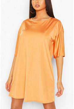 Orange Slinky Oversized T-Shirt Dress