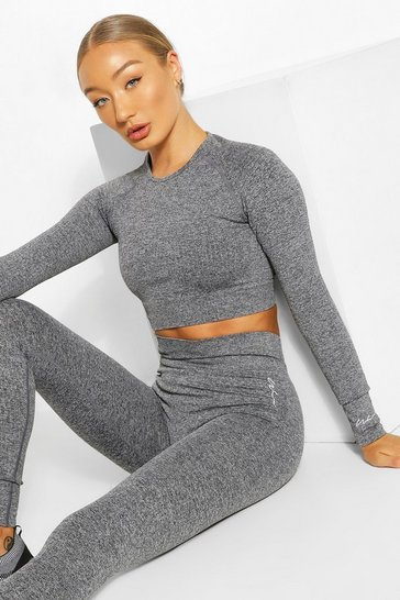 Dark grey grey Rib Seamless Gym Leggings