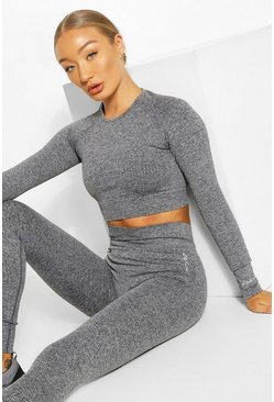 Rib Seamless Long Sleeve Gym Top and Leggings