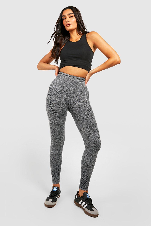 White /& Grey Rib Seamless Gym Co ord Activewear Set LEGGINGS ONLY