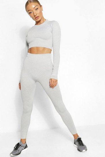 Grey Rib Seamless Gym Leggings