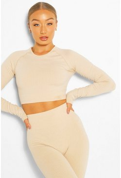 Nude Rib Seamless Long Sleeve Gym Top