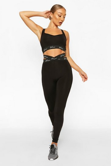 Black Active Tight With Cross Waistband Detail