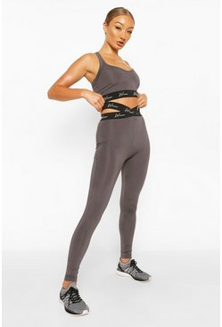 Charcoal Active Tight With Cross Waistband Detail