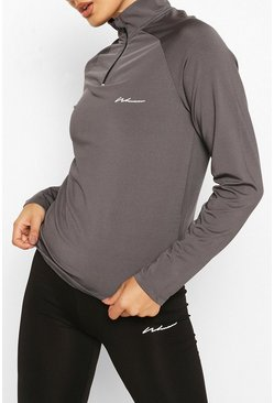 Charcoal grey Active Raglan Funnel Neck Top