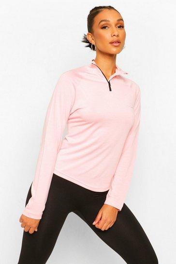 Pink Active Raglan Funnel Neck Top