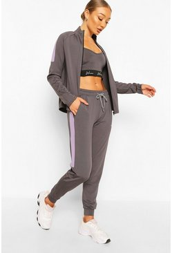 Charcoal grey Active Skinny Fit Jogger with Side Panel