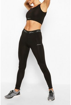 Black Active Compression Tight with Panel