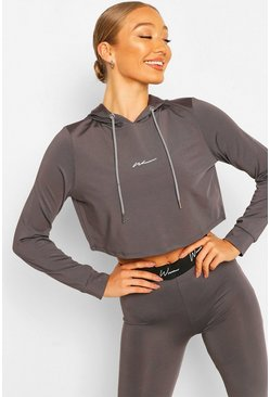 Charcoal grey Active Cropped Hoodie