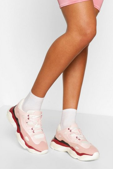 Pink Chunky Sole Lace Up Trainers