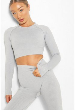 Grey Rib Seamless Long Sleeve Gym Top