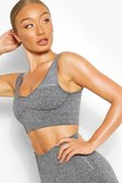 Dark grey grey Rib Seamless Sports Bra