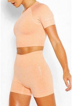 Nahtloses Sport-Crop-Top, Orange