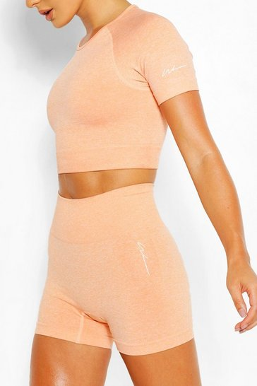 Orange Seamless Gym Crop Top