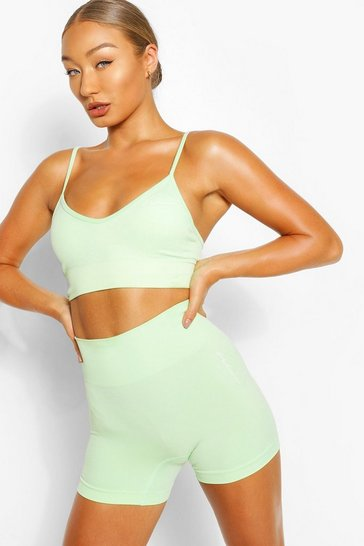 Neon-green neon Seamless Longline Sports Bra