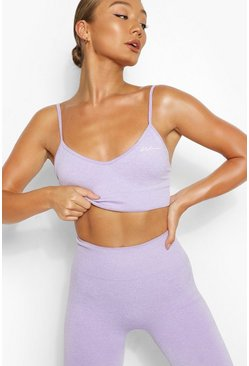 Purple Seamless Longline Sports Bra