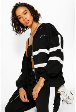 Black Woman Print Oversized Colour Block Hoodie