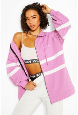 Lilac purple Woman Print Oversized Colour Block Hoodie