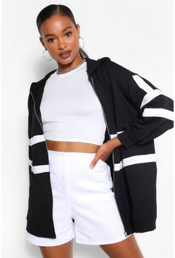 Black Extreme Oversized Colour Block Hoodie