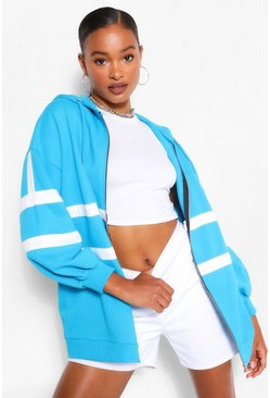 Blue Extreme Oversized Colour Block Hoodie