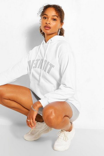 White Detroit Applique Oversized Hoody