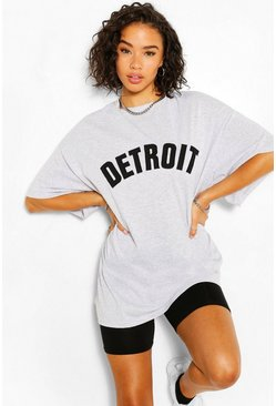 Grey marl Detroit Applique Oversized T-Shirt