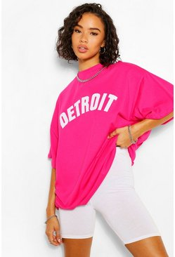 Raspberry pink Detroit Applique Oversized T-Shirt