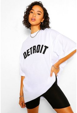 White Detroit Applique Oversized T-Shirt