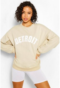 Sand Detroit Applique Oversized Sweatshirt