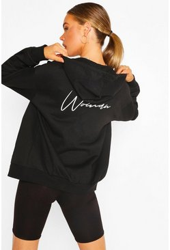 Black Woman Print Oversized Zip Through Hoody