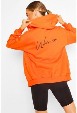 Orange Woman Print Zip Through Hoody