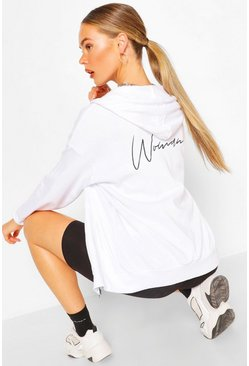 White Woman Print Oversized Zip Through Hoody