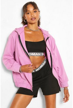 Lilac purple Oversized Elasticated Waist Hoody