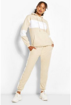Sand beige Woman Script Colour Block Tracksuit