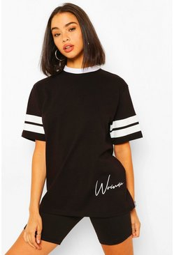 Black Woman Print Sports Stripe T-Shirt