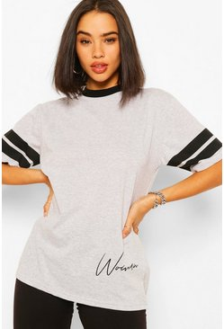 Grey marl grey Woman Print Sports Stripe T-Shirt