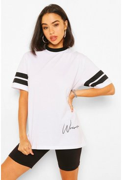 White Woman Print Sports Stripe T-Shirt