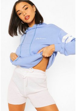 Blue Woman Print Arm Sports Stripe Hoody
