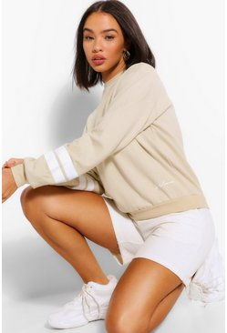 Sand beige Woman Sleeve Print Oversized Sweat
