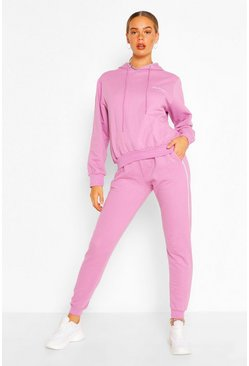 Lilac purple Side Stripe Woman Embroidery Tracksuit