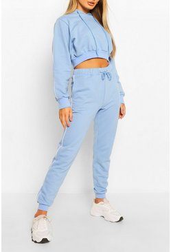 Blue Side Stripe Crop Hoody Tracksuit