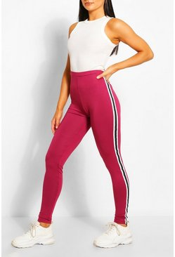 Berry red Contrast Panel Supersoft Leggings