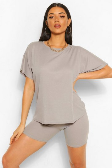 Grey marl grey Oversized T-Shirt and Cycling Short Co-Ord Set