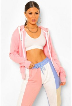 Baby pink pink Solid Colour Zip Through Hoodie