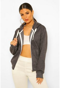 Charcoal grey Solid Colour Zip Through Hoodie