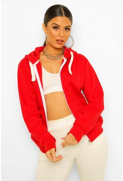 Red Solid Colour Zip Through Hoodie
