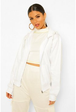 White Solid Colour Zip Through Hoodie