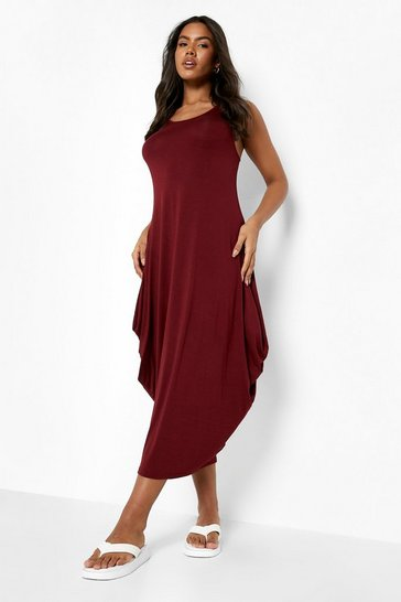 Berry red Racer Back Ruched Maxi Dress