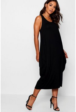 Black Racer Back Ruched Maxi Dress