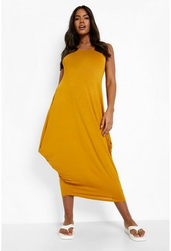 Mustard yellow Racer Back Ruched Maxi Dress